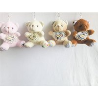 9cm Coeur Plaid Teddy Bear Cartoon Stuffed Toy Peluche Jouet Pendentif Porte-clés Porte-clés Porte-clés