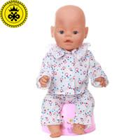encaixe t8 venda por atacado-3 cores pijamas terno roupas de boneca caber 43 cm bebê nascido zapf boneca roupas e 40-46 cm boneca acessórios t8