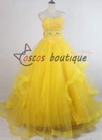 Wholesale Yellow Princess Dress Costume - 2017 Newest movie Beauty and the Beast belle dress women princess Belle costume cosplay yellow wedding dress ball gown