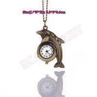 Wholesale Dolphin Pendant Quartz - Wholesale-Retro Bronze Cute dolphin Quartz Pocket Watch For Kids Necklace Pendant Women FOB Watches