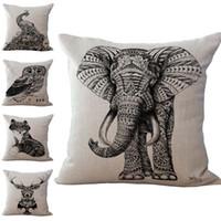 Wholesale hotels bear - Black Elephant Bear Lion Owl Animal Pillow Case Cushion cover Linen Cotton Throw Pillowcases sofa Bed Car Decorative Pillowcover drop ship