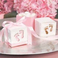 Wholesale Shower Feet - FREE SHIPPING 100PCS Baby Feet Favor Boxes Cut-Out Candy Boxes with Satin Ribbon for Baby Shower Birthday Candy Package Supplies