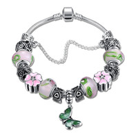 Wholesale Murano Mix Order - Mix Order Beaded Charms DIY Bracelet Bangle Silver Plated Snake Chains with Colorful Murano Glass & Crystal European Beads for Girl Women