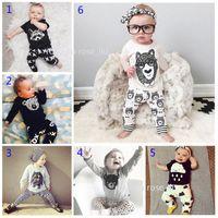 Wholesale Stripe Pajamas - 30 Style Baby INS fox stripe letter pajamas Suits Kids Toddler Infant Casual Short long sleeve T-shirt +trousers 2pcs sets Suit B