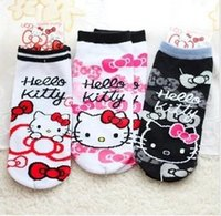 Wholesale Kawaii Cartoon Slippers - Wholesale-Kawaii Hello Kitty Print 100% Cotton Cartoon Socks Women Socks Slippers K6466