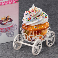 Wholesale horse birthday party decorations for sale - Group buy New romantic horse Carriage Cake Stand White Pastry Baking Metal Wheel Cupcake Stand Cake Display Wedding Birthday Party Decorations