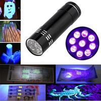 Wholesale 12v Blacklight - Portable 9 LED Mini LED Flashlights Mini Aluminum UV Ultra Violet LED Black Flashlight Blacklight Torch Hand Light Lamp