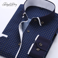 Wholesale Ds Shirt - Wholesale- High Quality Men Shirt Long Sleeved Fashion Assorted Printing Casual Shirt Men Turn-Down Collar Dress Camisas 11 Options DS-026