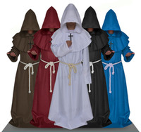 Wholesale Blue Wizard Costume - Adult Men Medieval Monks Monk Robe Costume Dress Wizard Dress Clothes Christian Pastor Full Set Halloween Clothes Black Blue Brown White Red