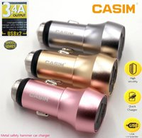 Wholesale Round Eu Adapter - New 3.4A Speed Dual USB Car Charger Round Zinc Alloy Metal Safety Hammer Charger Adapter For iPhone Samsung Ipad With Retail packaging