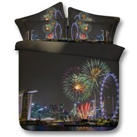 Wholesale chinese bedspread queen - Seaside City fireworks 3D Printed Bedding Sets Twin Full Queen King Size Bedspreads Bedclothes Duvet Covers Night View Fashion Design 3 4PCS