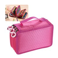 Wholesale Brushes Carry Case - Multifunctional Large Capacity Painting Cosmetic Pencil Pen Brush Bag Case Box 4 Layer Zipper 72 Holders with Carrying Handle OS0188RO