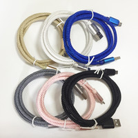 Wholesale Data Transfer Cables - 2.1A Braided Keel Micro USB Cable Data Transfer Fast Charging Cord For Cell Phone SAMSUNG Note 5 HTC SONY Strong Nylon Charger Line 100PCS