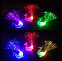 Creative Peacock LED Finger Ring Lights Beams Party Nightclub Color Rings Optical Fiber Lamp Enfants Halloween Party Supply CCA7563 500pcs