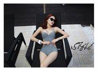 Wholesale Thin Swim Suit - Women's Spa Swimming Suit Swim Wear piece bikini steel rope gather Swimsuit female chest hollow black was thin Swimwear Bathing Suits