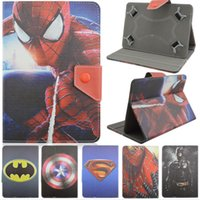 Ipad Mini Casos Batman Baratos-Superman Superman Superman Superman Batman Spiderman Flip Funda de cuero PU caso de soporte para 7 8 10 pulgadas Tablet PC Android