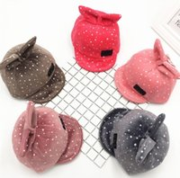 Wholesale Baby Boy Brim Hats - w Unisex Child Baseball Cap Kids Spring Autumn Baby Rabbit Ear Design Adjustable Soft Brim Baseball Hat baby ball caps