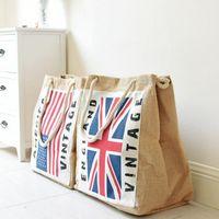 Wholesale England Flag Tote - American and England Flag Linen Shopping bags Big Messenger Storage Bags Reusable Shoulder Bag Shopping Tote KKA2507