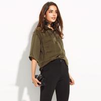 ingrosso fidanzato camicie donne-Camicie delle camicette delle 2017 donne Green Boyfriend Pocket Conceal Button Tied Shirt Turn-Down Collar Mezza manica Camicie allentate