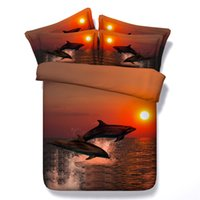 Wholesale Dolphins Bedding - 4 Styles Sunset Dolphin 3D Printed Bedding Sets Twin Full Queen King Size Duvet Covers Pillowcase Comforter Fashion Designer Popular 3 4 pcs
