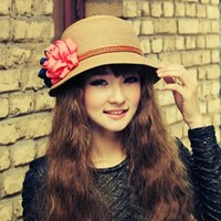 Wholesale Solid Straw Hats Caps - Wholesale- Sweety Korean Style Caps for Summer with Beautiful Flower Design Solid Straw Beach Hat Sun Hat