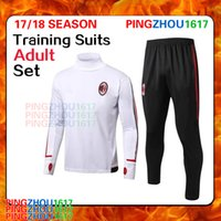 Wholesale Wholesale Sweat Suits Men - 2017 2018 AC Milan Soccer training suit sweat shirt pants survetement 17 18 AC Milan Sweater Tracksuit Sets Soccer Training Suit free DHL
