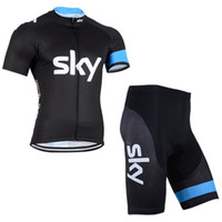 Wholesale Team Sky Pro Cycling Jersey - 2017 SKY Pro team Cycling Jersey set Cycling clothing Breathable Mountain Bike Clothes Quick Dry Bicycle Sportswear Cycling Set bib GE