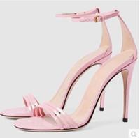 bombas de casamento rosa aberto venda por atacado-2017 Mulheres fivela Sandálias Tira No Tornozelo Sandálias de salto fino sexy de salto alto sapatos de dedo do pé aberto vermelho rosa preto bombas corta
