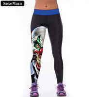 Wholesale SexeMara High Quality Evil Clown Leggings Women Cartoon Casual Elastic Leggins Skinny Comfortable Youth Fitness Pants F1518