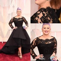 Wholesale Long Oscars Dress - 2017 Oscar Kelly Osbourne Celebrity Dress Long Sleeves Lace Scallop Black Ball Gown High Low Red Carpet Sheer Evening Gowns