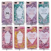 Wholesale Iphone Cases Icecream - hot sale cell phone case gitter star heart icecream sequins flow liquid quicksand PC crystal case for iphone 7 7s plus 6 6s plus