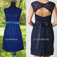 Real Image Kurzes Backless Brautjungfer Kleid mit abnehmbaren Gürtel Schärpe Royal Navy Blue Spalte Open Back Hochzeit Gast Maid of Honor Kleider