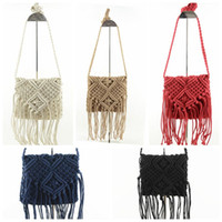 Wholesale Knitted Toys Handmade - 2017 Fashion Women Handmade Straw Knitted Bags Tassel Toy Cotton Lining Female Beach Bags Women Crossbody Messenger Bags free fast shipping