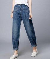 Wholesale Cotton Bloomers For Women - Wholesale- Bloomer pants for woman plus size cotton jeans denim autumn spring harem pants casual high waist capris female trousers lyq0601