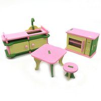 Wholesale 3d Wooden Dollhouses - DHL Free New Arrival DIY Mini Furniture Set Kids Educational Dollhouse Furniture Set 3D Wooden Toys Puzzles Model