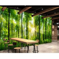 Wholesale Green Walls Kitchen - High Quality Customize size Modern mural wall papers for tv backdrop green forest custom wallpaper
