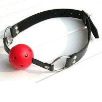Wholesale harness mouth plug - Wholesale New Sexy 40mm Leather Harness Mouth Soft Solid Rubber Red Gag Ball Plug free shipping