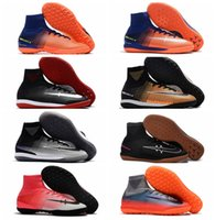 2018 cadran de football original MercurialX Proximo II TF IC superfly bottes de football d'intérieur Time to Shine homme chaussures de foot cr7 SOCIÉTÉ noir Rouge
