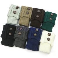 gehäkelte stiefelmanschette großhandel-Großhandels-Frauen heißen Winter-Häkelarbeit-Knit-Bein-Wärmer-Socken-Knopf-Stiefel-Socken-Deckel-Manschetten