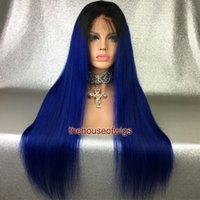 Wholesale Wig Light Blue Long - Thick Silky Straight Ombre Full Lace Wigs Glueless Two Tone BTBlue Lace Front Human Hair Wigs For Women With Natural Hairline Blue Hair