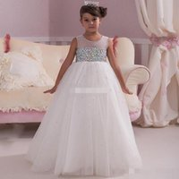 Wholesale Christmas Ball Opens - White Ball Gown Flower Girl Dresses Beading Crystals Open Back Holy Communion Dress 2017 Long Formal Kids Birthday Graduation Party Dresses