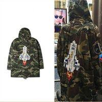 Wholesale Men S Casual Trench Coat - SLP Camouflage Rocket Jacket Men Women Kanye Brand Justin Bieber Trench Coats Men Patchwork Windbreaker Jackets Men SMS0047-4