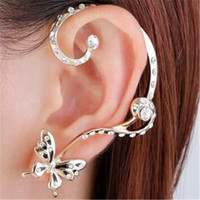 Wholesale new punk earrings for sale - Group buy Butterfly Ear Cuff Earrings Asymmetric DHL Fashion New Fashion Punk Personality High Quality Set Ear Clips Earring Jewelry Christmas Gift