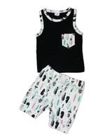 ingrosso giacche per neonati-Baby INS Outfit 2017 Estate vestito a due pezzi Ins vestiti Cotton Cross Feather Vest Top Shorts Imposta Baby Boys Girls Clothes spedizione DHL