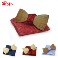 Wholesale Finished Wood Products - Wood Bowtie and Hankerchief sets 20 styles Handmade Vintage Traditional Bowknot For business finished product Bow tie 12*6cm For adults