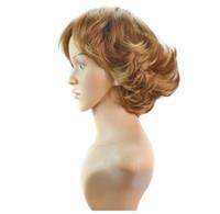темно-блондинка парик косплей оптовых-Европа и США экспорт внешней торговли парик высокого качества DARK BLONDE MIX дамы короткие вьющиеся волосы peruca Косплей Парики