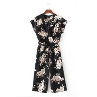 Wholesale Vintage Playsuits - 2017 women vintage V neck floral jumpsuits wide leg pants sashes pleated elastic waist rompers summer casual playsuits