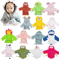 Wholesale Baby pajamas poplar style cartoon style cotton bathrobes children hood bath towels baby towels robeM432