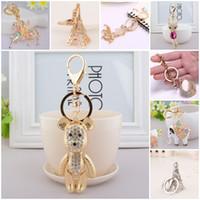 Wholesale Purse Ornaments - New Style Keychain Key Ring Horse Fish Eiffel Tower Bear Fox Rhinestone Pendant Key Chain Purse Drop Ornament For Women & Girls C150Q