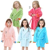 Wholesale Hooded Coral Towel - Animal bathrobe pajamas Kids dinosaur Robes cartoon Nightgown Children Towels Hooded Coral velvet bathrobes C2427